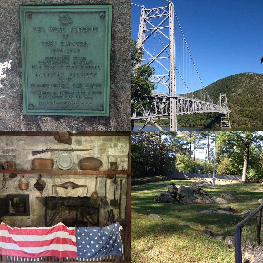 Clockwise starting from the upper-left: A plaque marking the site of Fort Clinton in Bear Mountain State Park; A view of the Bear Mountain Bridge from the Trailside Museum at Fort Clinton; Remnants of Fort Clinton; An exhibit inside the Trailside Museum.