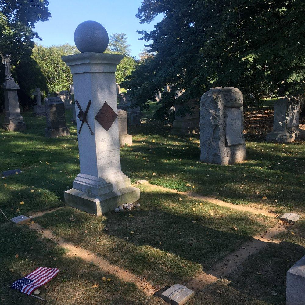 Chadwick's grave in Green-Wood Cemetery, with a baseball carved on the headstone.